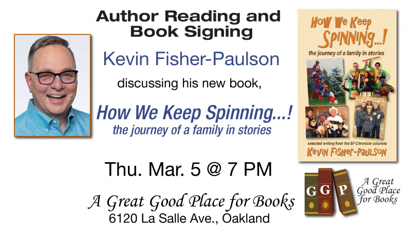 Kevin Fisher-Paulson and book cover and time/date of event
