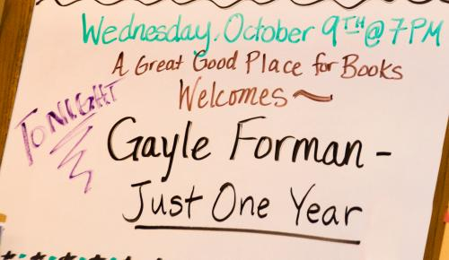 Welcome sign for Gayle Forman